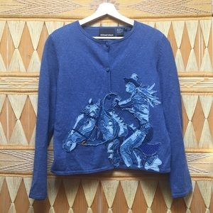 Michael Simon Cowgirl Rodeo Horse Sweater Cardigan